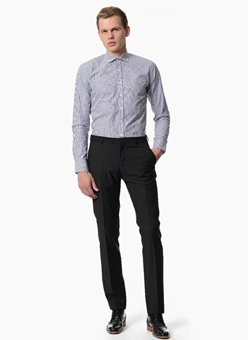NetWork Slim Fit Çizgili Uzun Kollu Klasik Gömlek Lacivert